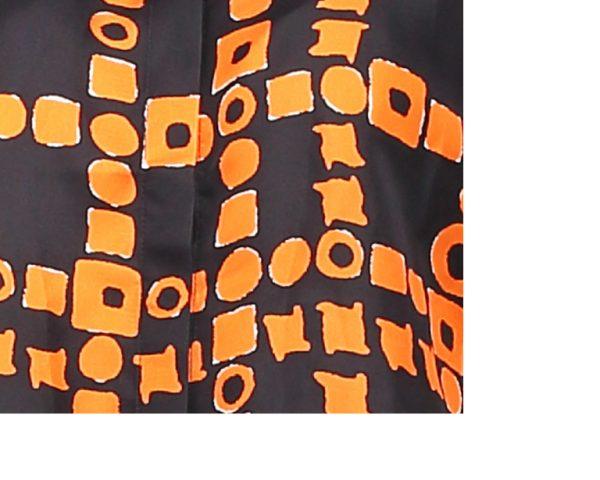 Seidenbluse Lauren schwarz terracotta Detailansicht