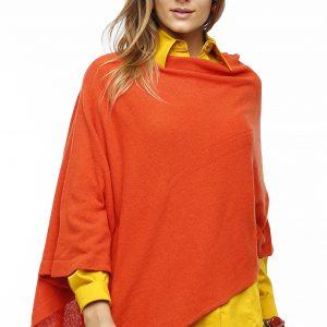 Poncho Roma orange aus Italien Gesamtansicht