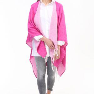Wollcape Meran pink aus Italien Gesamtansicht