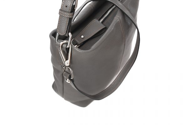 Lederhandtasche Rosa dunkelgrau Detailansicht